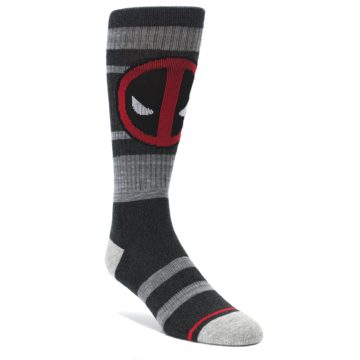 Charcoal-Gray-Red-Deadpool-Mens-Casual-Socks-BIOWORLD