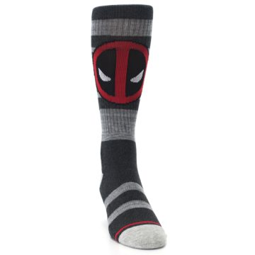 Image of Charcoal Gray Red Deadpool Men's Casual Socks (side-1-front-03)