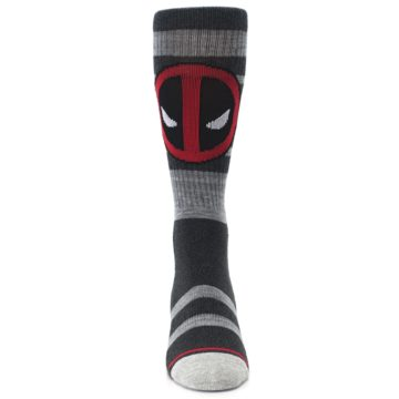 Image of Charcoal Gray Red Deadpool Men's Casual Socks (front-04)