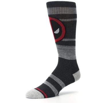 Image of Charcoal Gray Red Deadpool Men's Casual Socks (side-2-09)