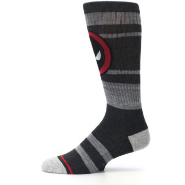 Image of Charcoal Gray Red Deadpool Men's Casual Socks (side-2-11)