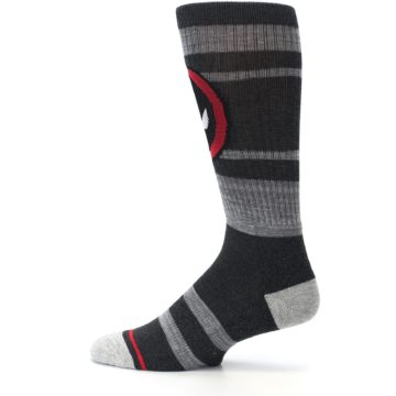 Image of Charcoal Gray Red Deadpool Men's Casual Socks (side-2-12)