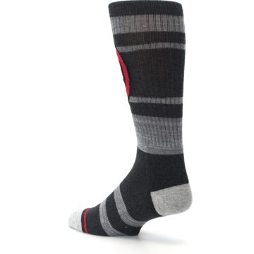 Image of Charcoal Gray Red Deadpool Men's Casual Socks (side-2-back-14)