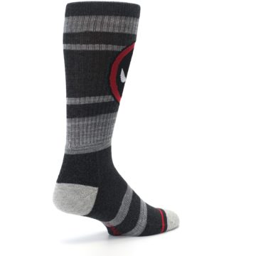 Image of Charcoal Gray Red Deadpool Men's Casual Socks (side-1-back-22)