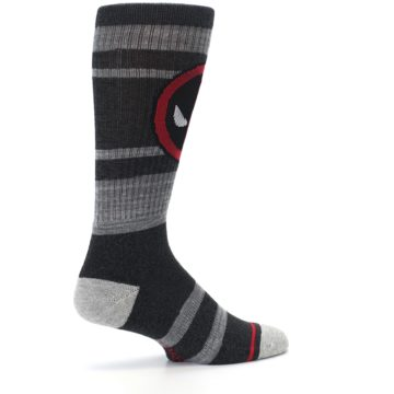Image of Charcoal Gray Red Deadpool Men's Casual Socks (side-1-23)
