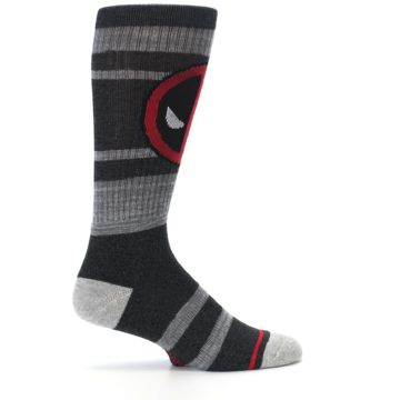 Image of Charcoal Gray Red Deadpool Men's Casual Socks (side-1-24)