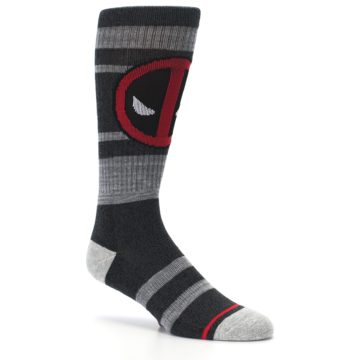 Image of Charcoal Gray Red Deadpool Men's Casual Socks (side-1-26)