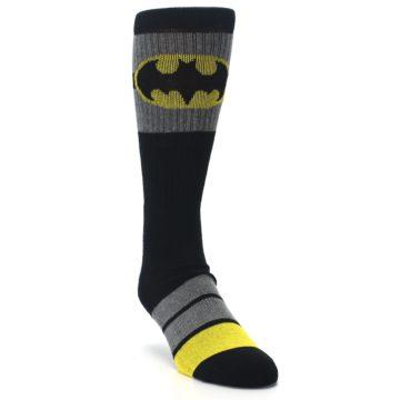 Image of Black Gray Yellow Batman Logo Men's Casual Socks (side-1-front-02)