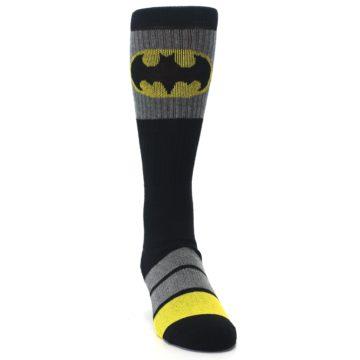 Image of Black Gray Yellow Batman Logo Men's Casual Socks (side-1-front-03)