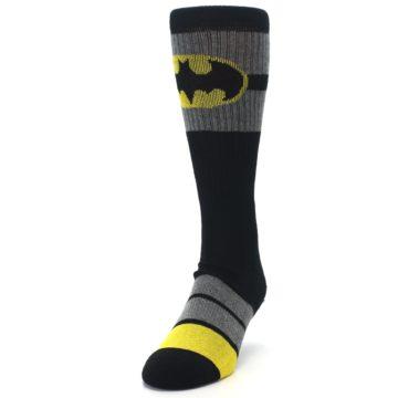 Image of Black Gray Yellow Batman Logo Men's Casual Socks (side-2-front-06)