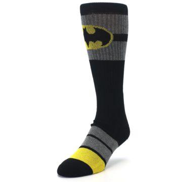 Image of Black Gray Yellow Batman Logo Men's Casual Socks (side-2-front-07)