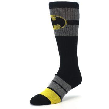 Image of Black Gray Yellow Batman Logo Men's Casual Socks (side-2-front-08)
