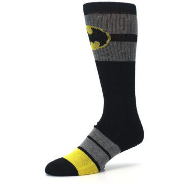 Image of Black Gray Yellow Batman Logo Men's Casual Socks (side-2-09)
