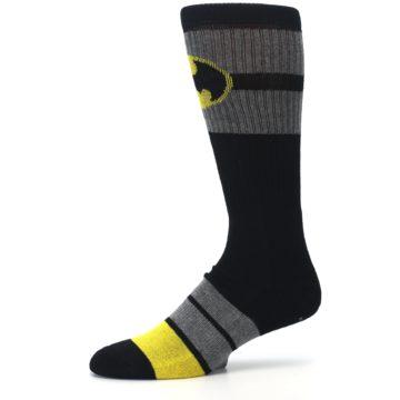 Image of Black Gray Yellow Batman Logo Men's Casual Socks (side-2-10)