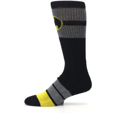 Image of Black Gray Yellow Batman Logo Men's Casual Socks (side-2-11)