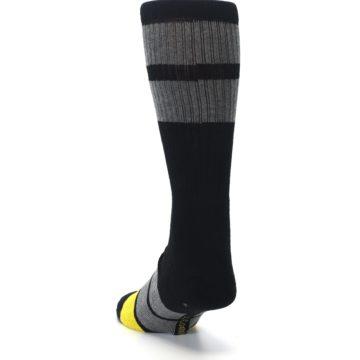 Image of Black Gray Yellow Batman Logo Men's Casual Socks (side-2-back-16)