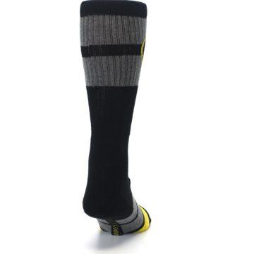 Image of Black Gray Yellow Batman Logo Men's Casual Socks (back-19)