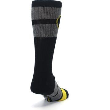 Image of Black Gray Yellow Batman Logo Men's Casual Socks (side-1-back-20)