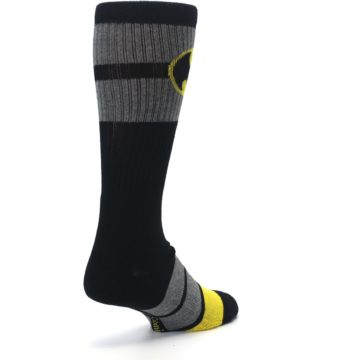 Image of Black Gray Yellow Batman Logo Men's Casual Socks (side-1-back-21)