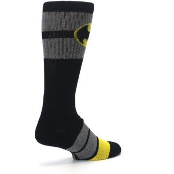 Image of Black Gray Yellow Batman Logo Men's Casual Socks (side-1-back-22)