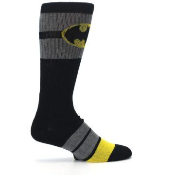 Image of Black Gray Yellow Batman Logo Men's Casual Socks (side-1-24)