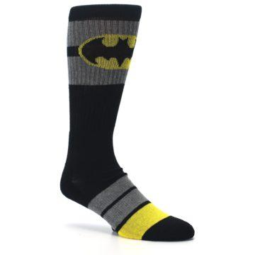 Image of Black Gray Yellow Batman Logo Men's Casual Socks (side-1-26)