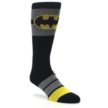 Image of Black Gray Yellow Batman Logo Men's Casual Socks (side-1-27)