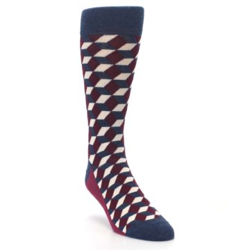 Image of Burgundy Navy Beeline Optical Men's Dress Socks (side-1-front-02)