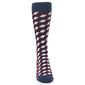 Image of Burgundy Navy Beeline Optical Men's Dress Socks (front-04)