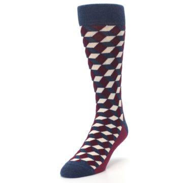 Image of Burgundy Navy Beeline Optical Men's Dress Socks (side-2-front-07)