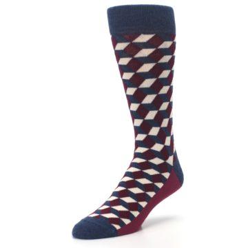 Image of Burgundy Navy Beeline Optical Men's Dress Socks (side-2-front-08)