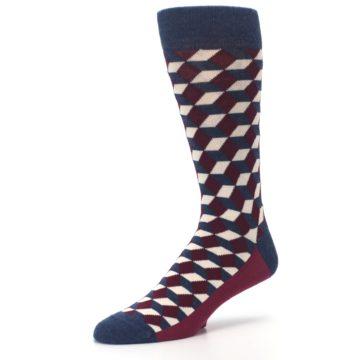 Image of Burgundy Navy Beeline Optical Men's Dress Socks (side-2-09)