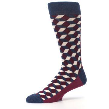 Image of Burgundy Navy Beeline Optical Men's Dress Socks (side-2-10)