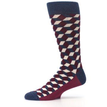 Image of Burgundy Navy Beeline Optical Men's Dress Socks (side-2-11)