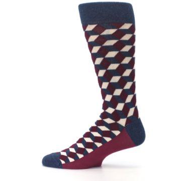 Image of Burgundy Navy Beeline Optical Men's Dress Socks (side-2-12)