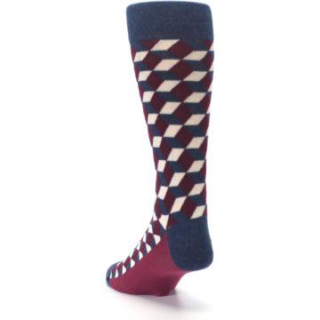 Image of Burgundy Navy Beeline Optical Men's Dress Socks (side-2-back-16)
