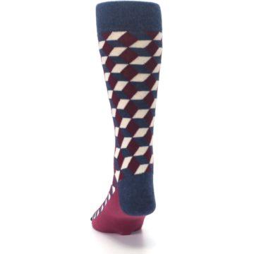 Image of Burgundy Navy Beeline Optical Men's Dress Socks (back-17)
