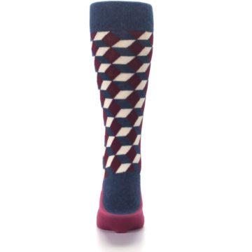Image of Burgundy Navy Beeline Optical Men's Dress Socks (back-18)