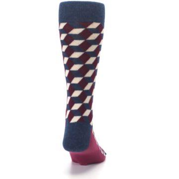 Image of Burgundy Navy Beeline Optical Men's Dress Socks (back-19)