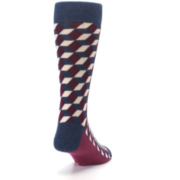 Image of Burgundy Navy Beeline Optical Men's Dress Socks (side-1-back-20)
