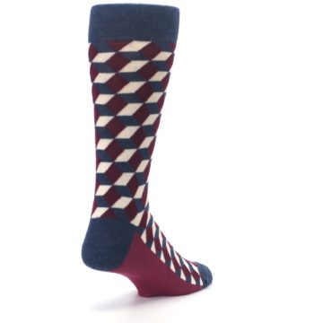 Image of Burgundy Navy Beeline Optical Men's Dress Socks (side-1-back-21)