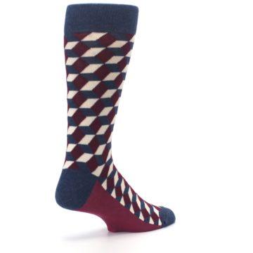Image of Burgundy Navy Beeline Optical Men's Dress Socks (side-1-back-22)