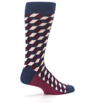 Image of Burgundy Navy Beeline Optical Men's Dress Socks (side-1-23)
