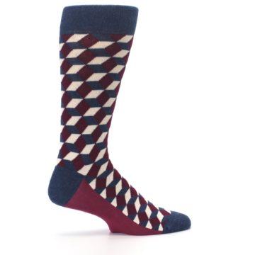 Image of Burgundy Navy Beeline Optical Men's Dress Socks (side-1-24)