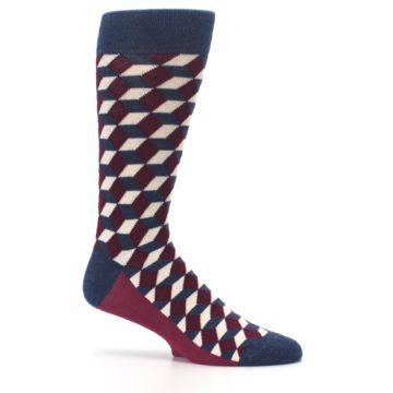 Image of Burgundy Navy Beeline Optical Men's Dress Socks (side-1-25)