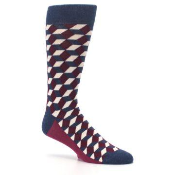 Image of Burgundy Navy Beeline Optical Men's Dress Socks (side-1-26)