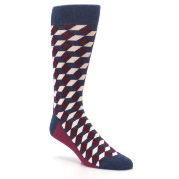 Image of Burgundy Navy Beeline Optical Men's Dress Socks (side-1-27)