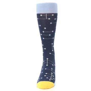 Image of Light Blue Yellow Dot Line Men's Dress Socks (front-05)