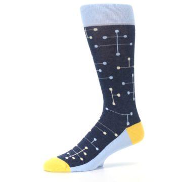 Image of Light Blue Yellow Dot Line Men's Dress Socks (side-2-10)