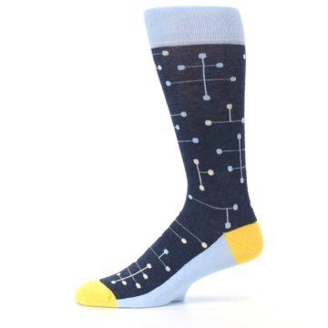 Image of Light Blue Yellow Dot Line Men's Dress Socks (side-2-11)